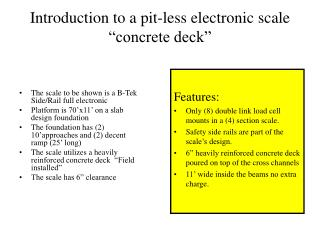Introduction to a pit-less electronic scale �concrete deck�