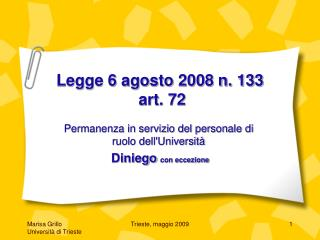Legge 6 agosto 2008 n. 133  art. 72