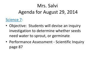 Mrs. Salvi  Agenda for August  29,  2014
