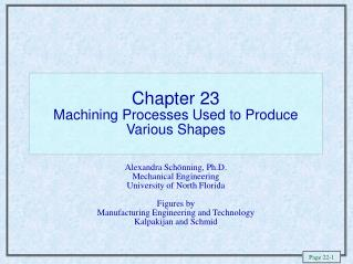 Chapter 23  Machining Processes Used to Produce Various Shapes