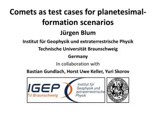 Comets as test cases for  planetesimal -formation scenarios