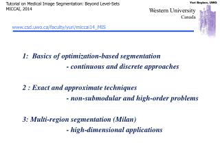 1:  Basics of optimization-based segmentation 		- continuous and discrete approaches