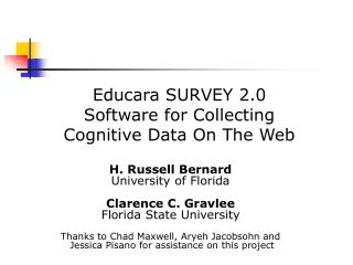 Educara SURVEY 2.0 Software for Collecting  Cognitive Data On The Web