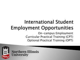 International Student Employment Opportunities