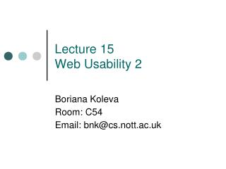 Lecture 15 Web Usability 2