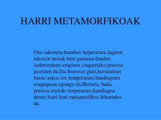 HARRI METAMORFIKOAK