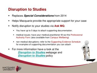 Disruption to Studies