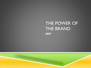 The Power of the Brand