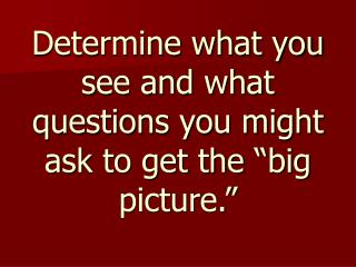 """Determine what you see and what questions you might ask to get the """"big picture."""""""