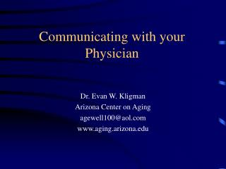 Communicating with your Physician