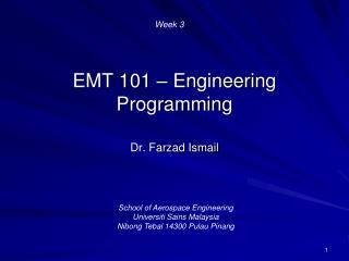 EMT 101  –  Engineering Programming