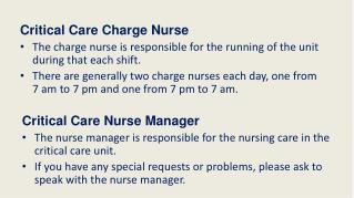 Critical  Care  Charge Nurse