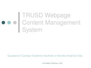 TRUSD Webpage Content Management System