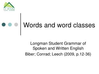 Words and word classes