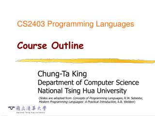 CS2403 Programming Languages Course Outline