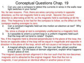 Conceptual Questions Chap. 19