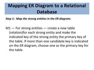 Mapping ER Diagram to a Relational Database