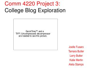 Comm 4220 Project 3:  College Blog Exploration