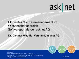 Dr. Dietmar Waudig, Vorstand, asknet AG