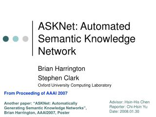 ASKNet: Automated Semantic Knowledge Network