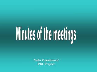 Nada Vukadinovič PBL Project