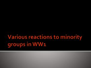 Various reactions to minority groups in WW1