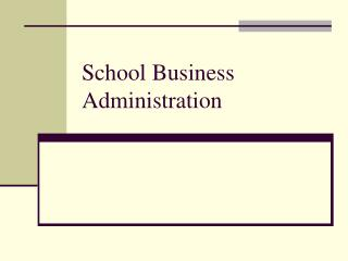 School Business Administration
