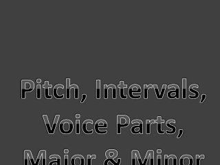 Pitch, Intervals, Voice Parts, Major & Minor