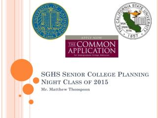 SGHS Senior College Planning Night Class of 2015