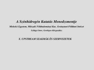 X. UPSTREAM SZAKMÁK ÉS SZERVEZETEK