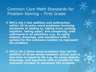 Common Core Math Standards for Problem Solving – First Grade
