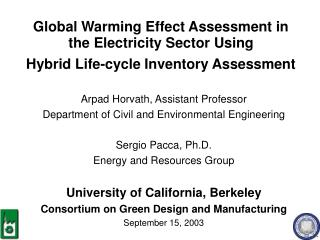 Global Warming Effect Assessment in the Electricity Sector Using  Hybrid Life-cycle Inventory Assessment