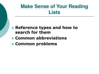 Make Sense of Your Reading Lists