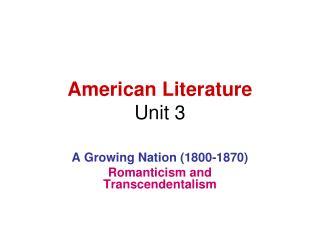 American Literature Unit 3