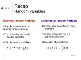 Recap Random variables