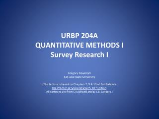 URBP 204A  QUANTITATIVE METHODS I Survey Research I