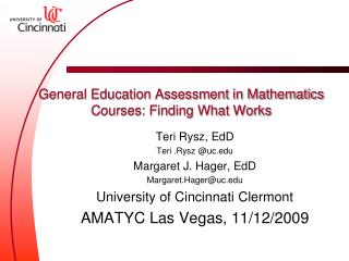 General Education Assessment in Mathematics Courses: Finding What Works