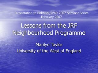Lessons from the JRF Neighbourhood Programme
