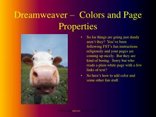 Dreamweaver –  Colors and Page Properties