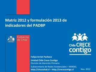 Matriz 2012 y formulación 2013 de indicadores del PADBP