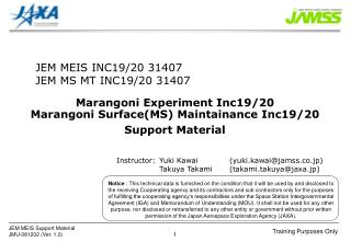 Marangoni Experiment Inc19/20 Marangoni Surface(MS) Maintainance Inc19/20 Support Material
