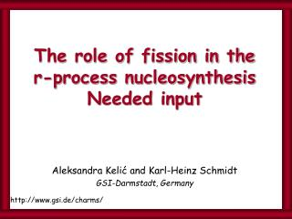The role of fission in the  r-process nucleosynthesis Needed input