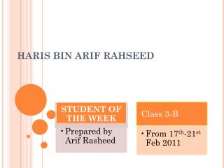 HARIS  BIN ARIF  RAHSEED