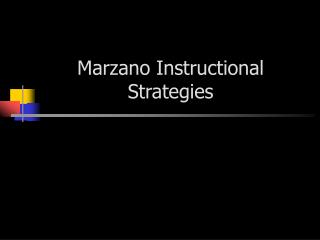 Marzano Instructional Strategies