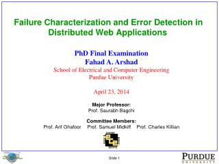 Failure Characterization and Error Detection in Distributed Web Applications