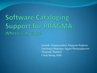 Software  Cataloging   Support for PRAGMA: Where is my app?