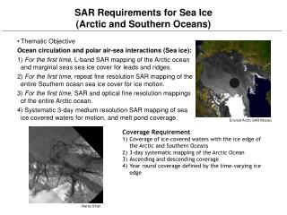 SAR Requirements for Sea Ice (Arctic and Southern Oceans)