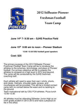 2012 Stillwater Pioneer Freshman Football  Team Camp