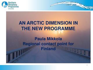 AN ARCTIC DIMENSION IN THE NEW PROGRAMME Paula Mikkola   Regional contact point for Finland