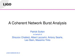 A Coherent Network Burst Analysis